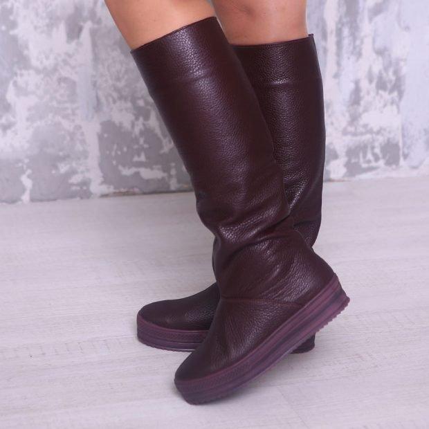 черные сапоги без каблука