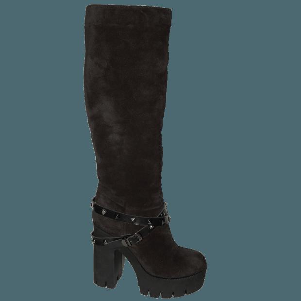 черные замшевые сапоги на толстом каблуке с ремешками
