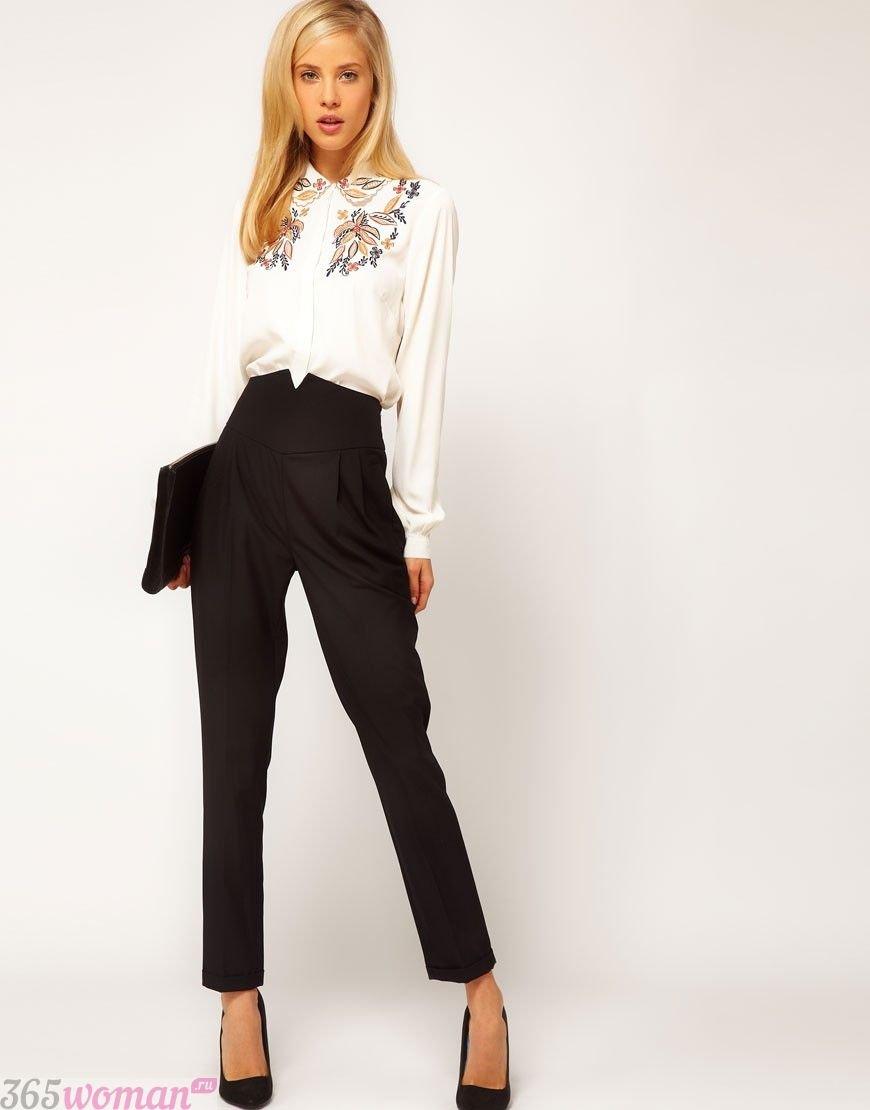 брюки с завышенной талией черные по косточку с чем носить