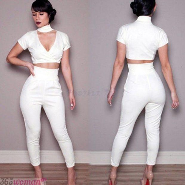 брюки с завышенной талией белые короткие с чем носить