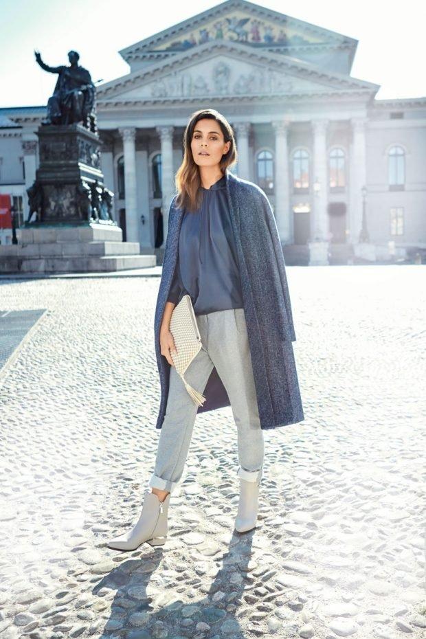 брюки с завышенной талией серые короткие с чем носить