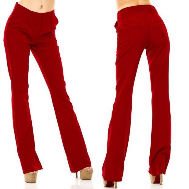 брюки с завышенной талией красные клеша с чем носить