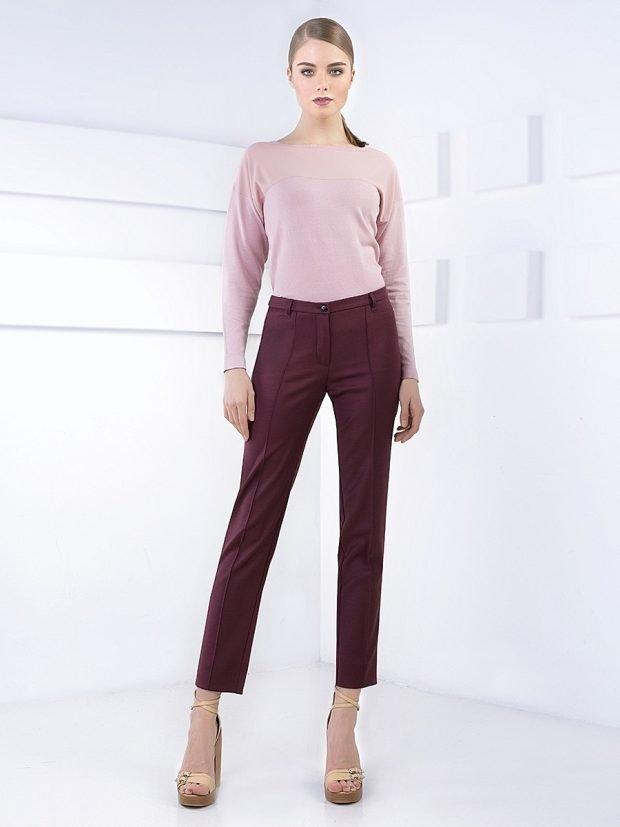 брюки с завышенной талией бордовые короткие с чем носить