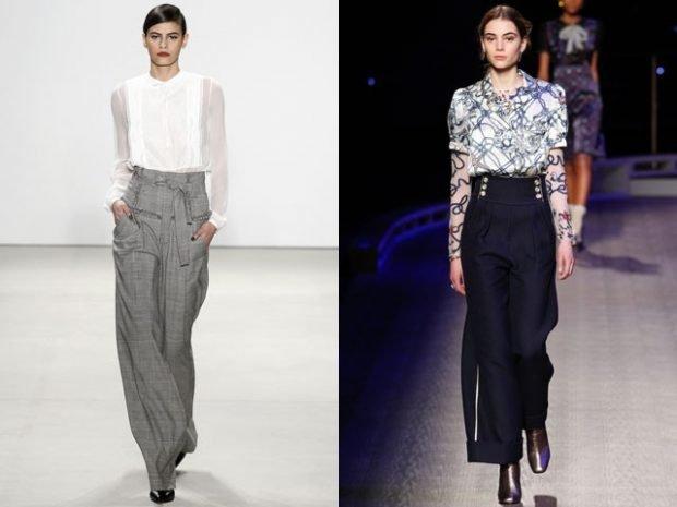 брюки с завышенной талией серые черные широкие с чем носить