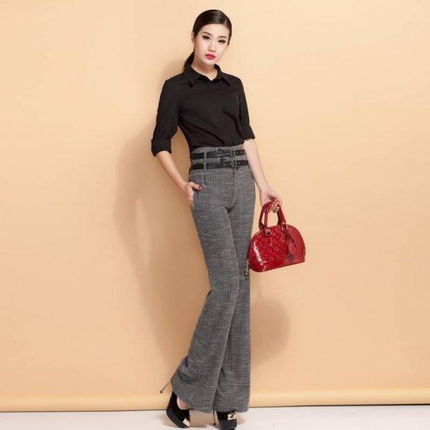 брюки с завышенной талией клеша с поясом с чем носить