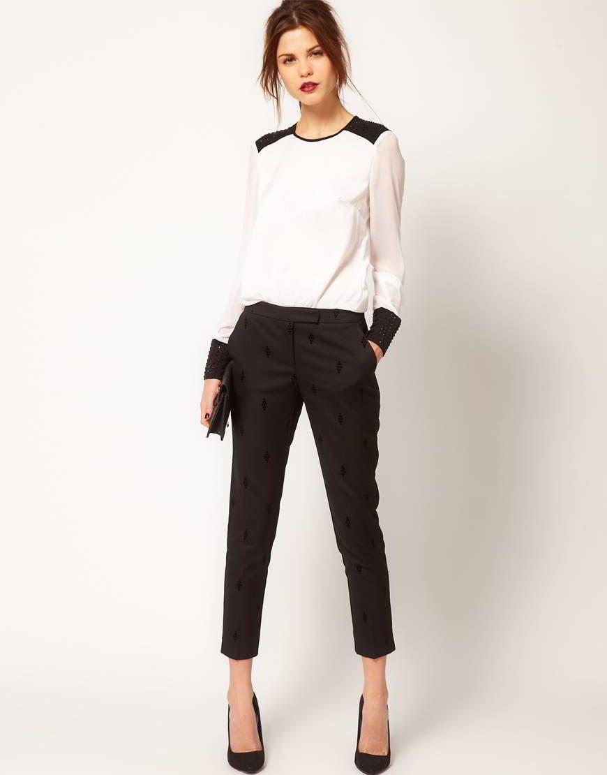 с чем носить брюки с завышенной талией черные короткие