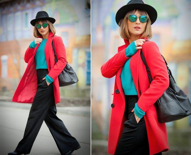с чем носить брюки с высокой талией черные под красное пальто