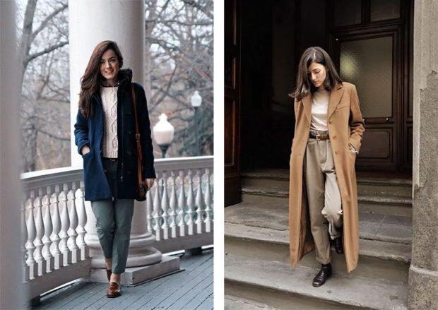 с чем носить брюки с высокой талией под пальто синее  короткое бежевое длинное