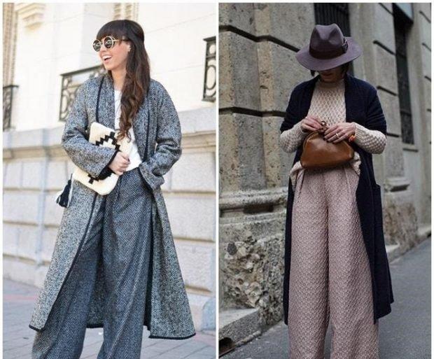 с чем носить брюки с высокой талией серые свободные под пальто в тон бежевые под пальто черное