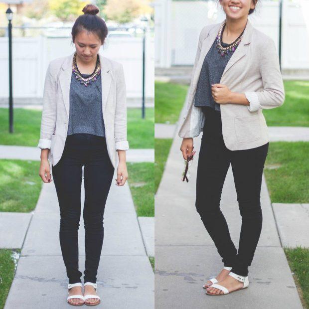 с чем носить брюки с высокой талией под пиджак светлый