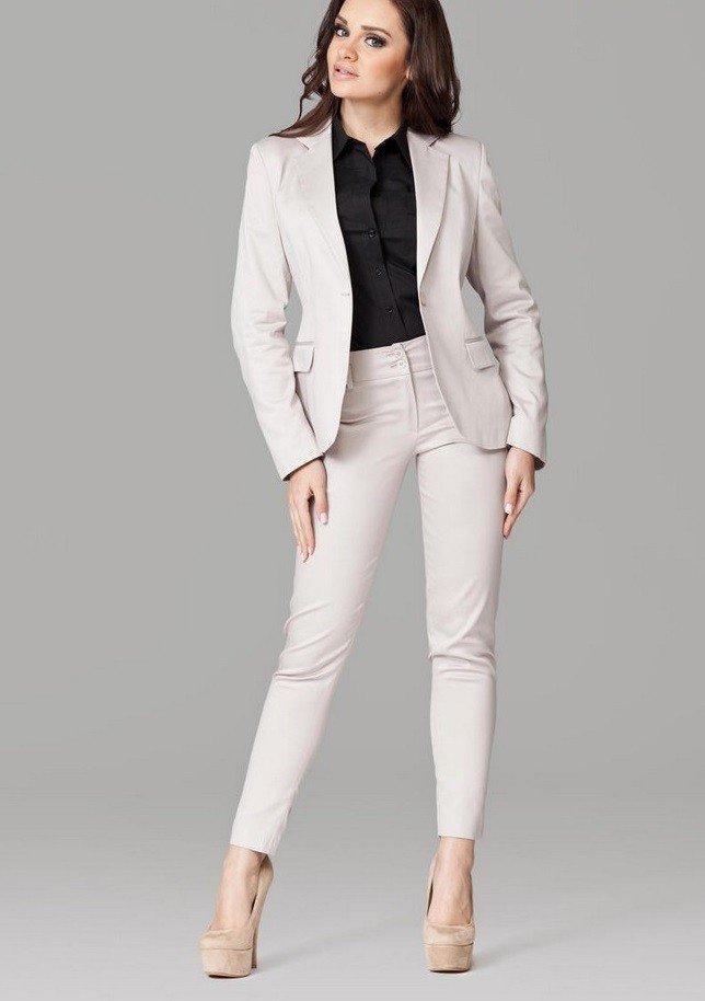 с чем носить брюки с высокой талией белые под пиджак  в тон