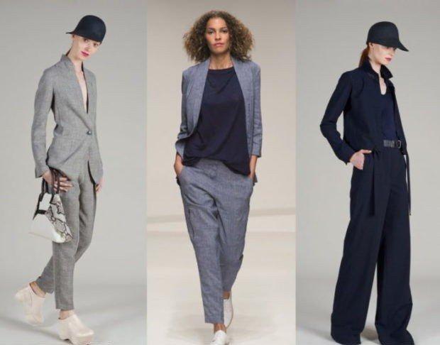 с чем носить брюки с высокой талией светло-серые серые черные под пиджаки в тон