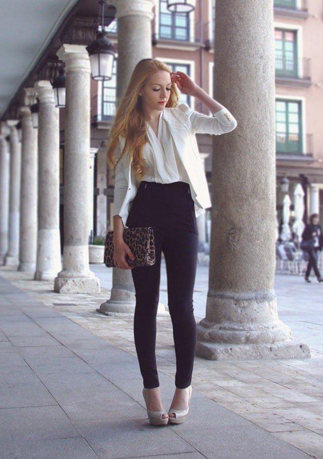 с чем носить брюки с высокой талией черные под пиджак белые