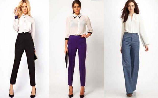 с чем носить брюки с завышенной талией под блузку белую