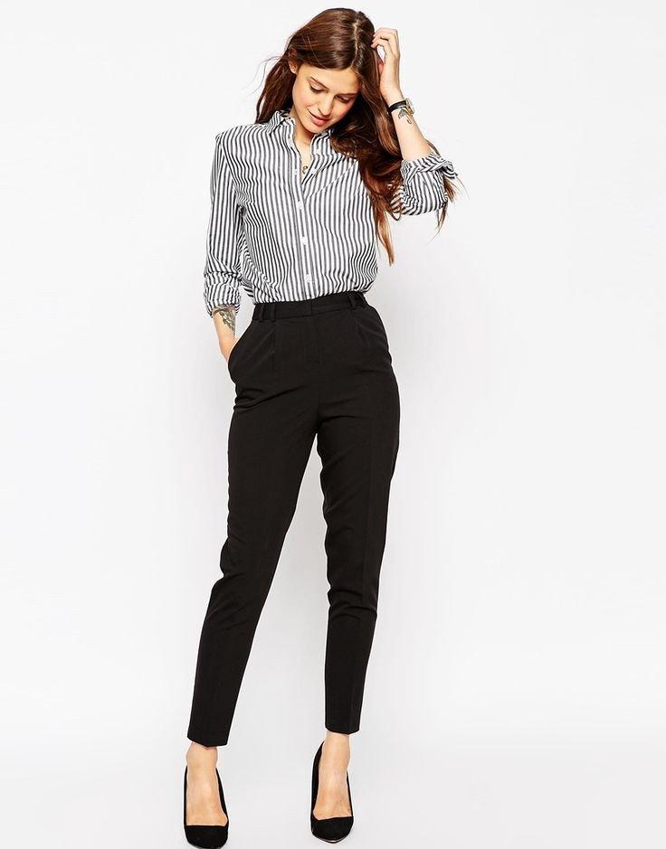 с чем носить брюки с завышенной талией  черные короткие под блузку в полоску