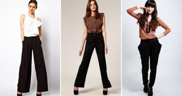 с чем носить брюки с завышенной талией черные под блузку белую в принт бежевую