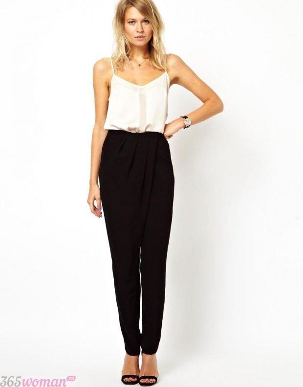 брюки с завышенной талией черные с чем носить