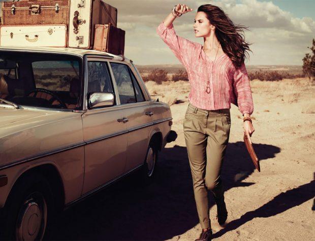 с чем носить брюки с завышенной талией зеленые под блузку розовую