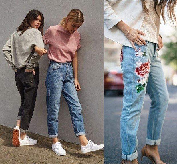 с чем носить штаны с завышенной талией джинсовые под футболки