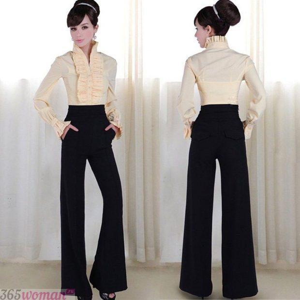 брюки с завышенной талией клеша черные с чем носить