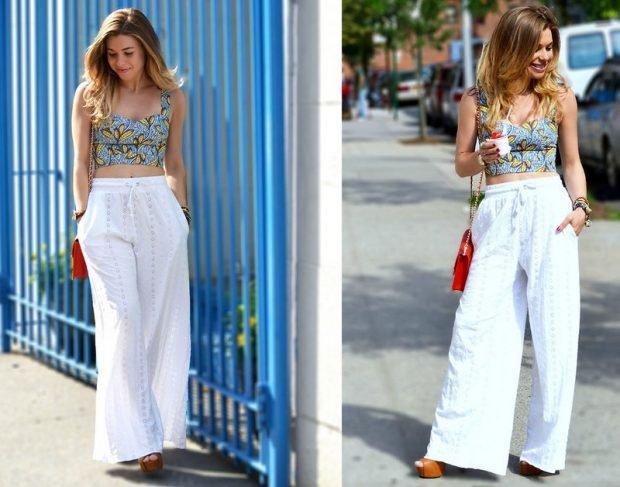 с чем носить брюки с завышенной талией белые широкие под топ цветной