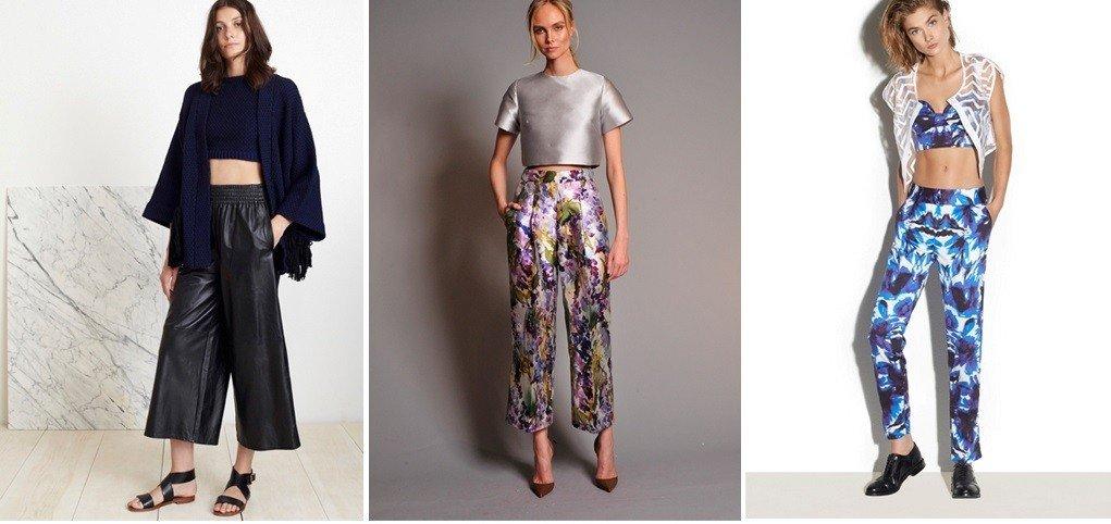 с чем носить брюки с завышенной талией широкие короткие под топы