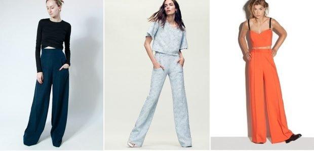 с чем носить брюки с завышенной талией широкие синие серые оранжевые под топ с рукавом