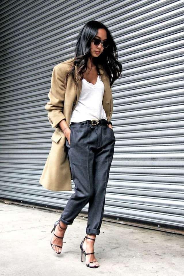 с чем носить брюки с высокой талией под босоножки