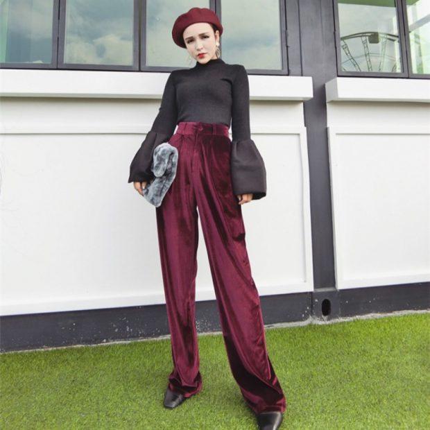 брюки с высокой талией под низкий ход сумка меховая берет с чем носить