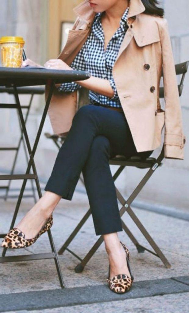брюки с высокой талией под балетки с чем носить