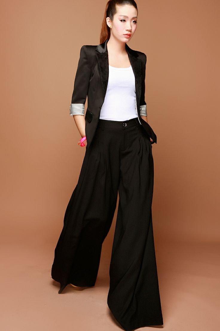 черный костюм с широкими брюками-кюлотами