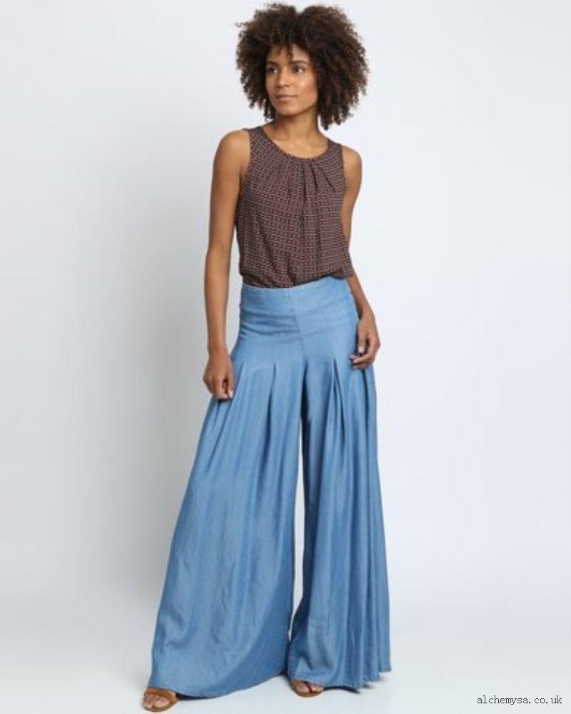 джинсовые широкие брюки-кюлоты