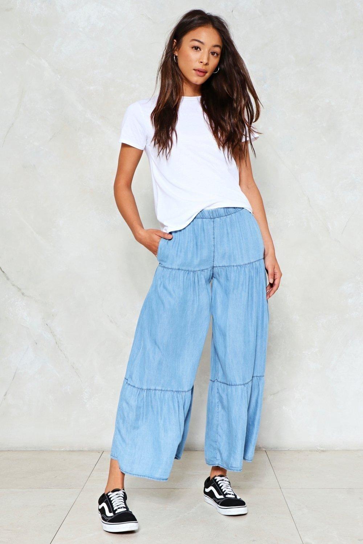 джинсовые брюки-кюлоты спортивные