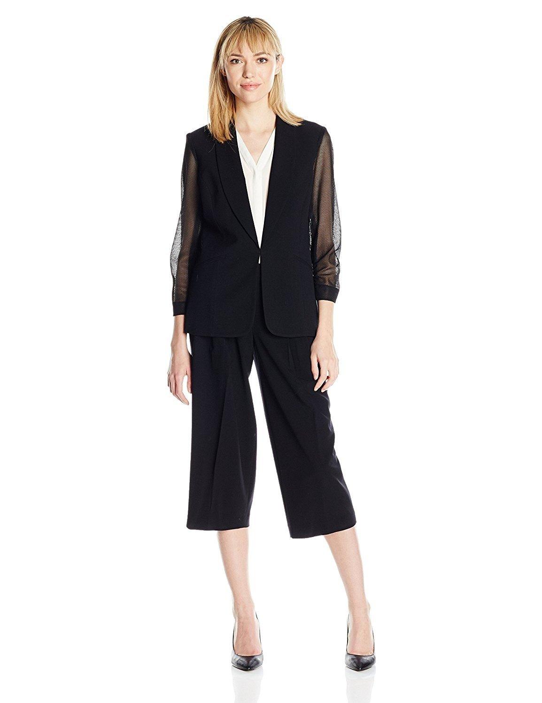 черный костюм с брюками-кюлотами