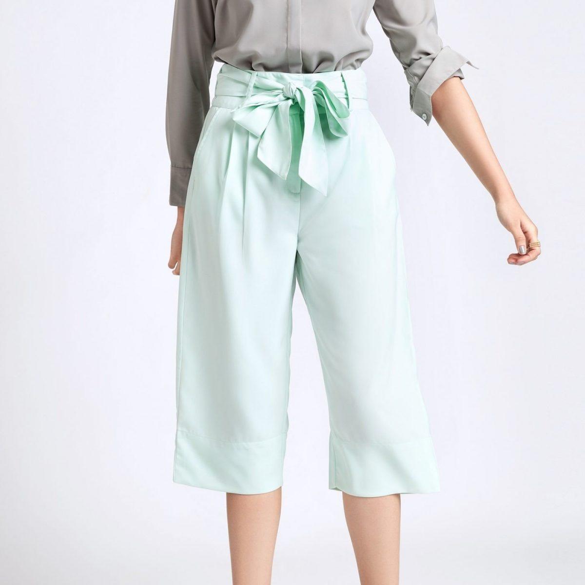 брюки-кюлоты мятного цвета