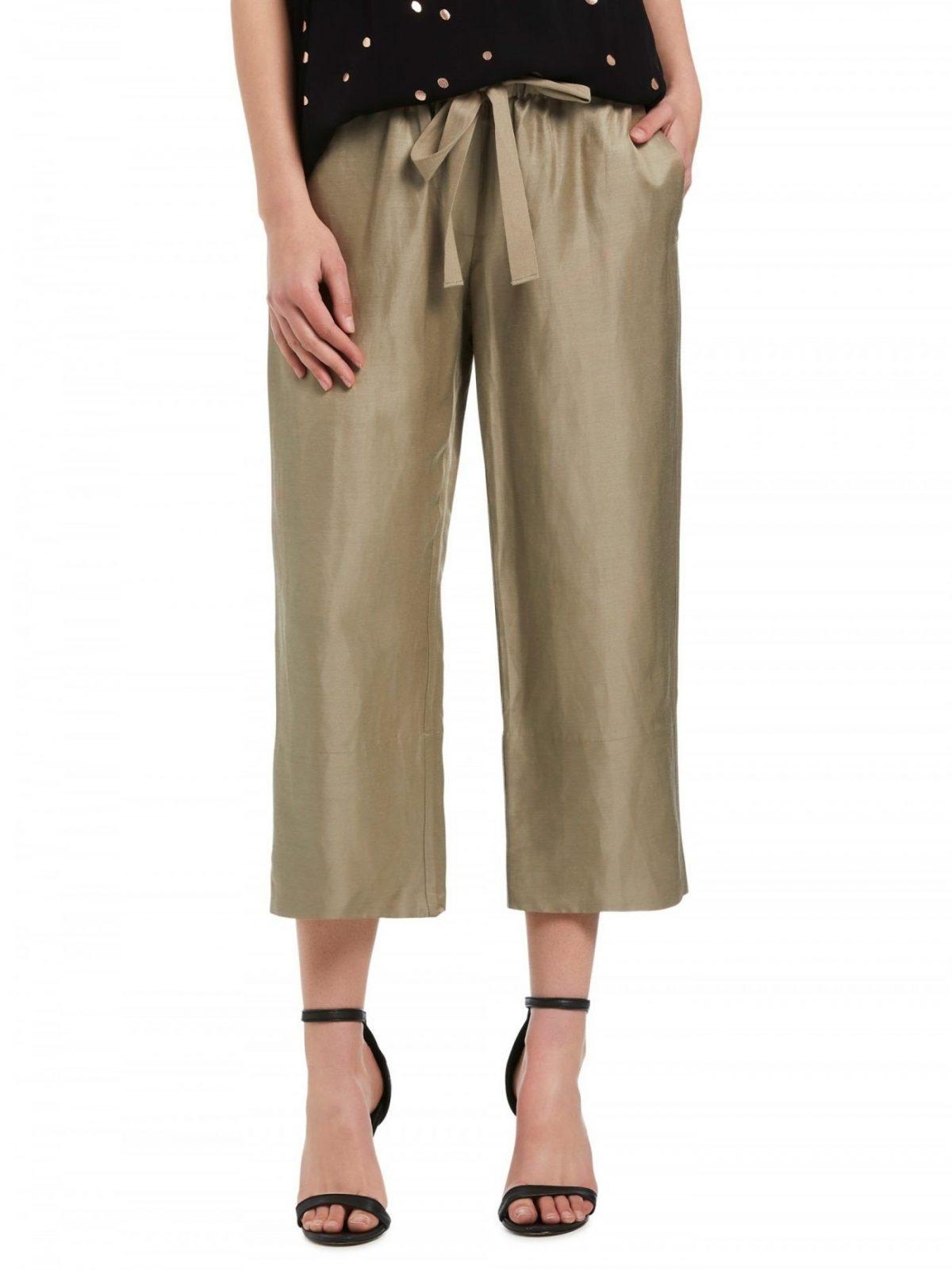 золотистые брюки-кюлоты
