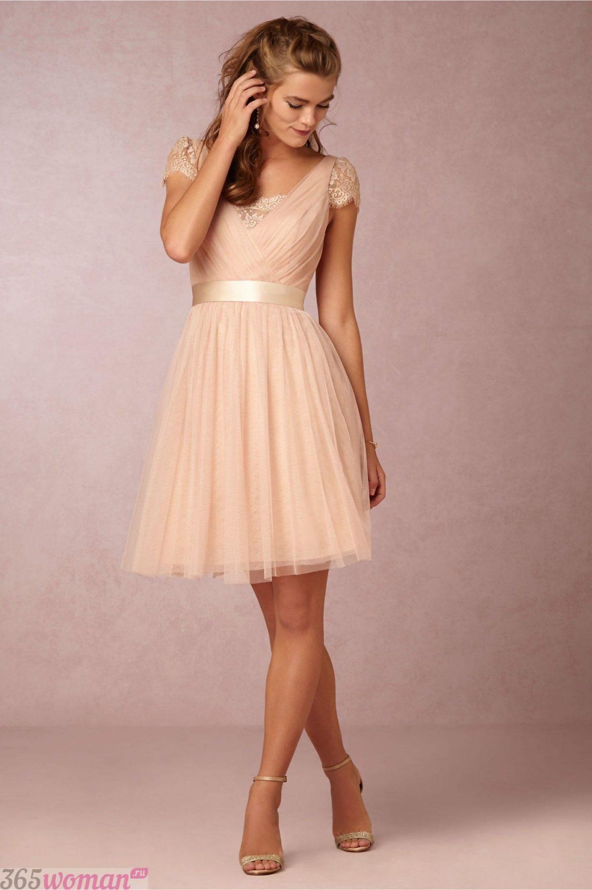 бежевое платье с фатиновой юбкой