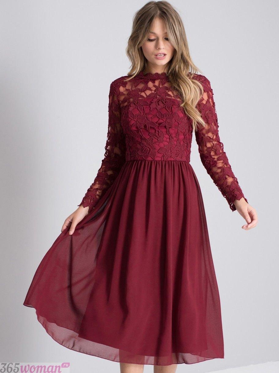 что надеть на день святого валентина 2019: платье миди цвета марсала с расклешенной юбкой