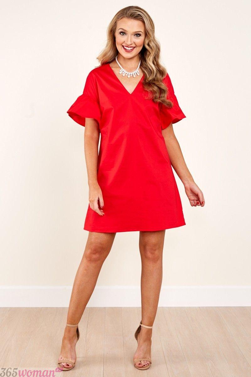 короткое красное свободное платье