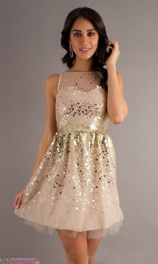 что надеть на день святого валентина: золотистое короткое платье