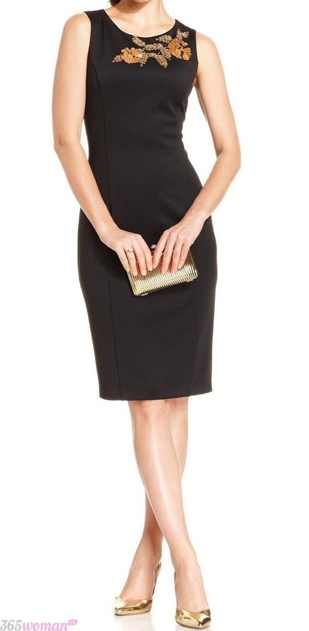 что надеть на день святого валентина: черное платье футляр украшенное стразами