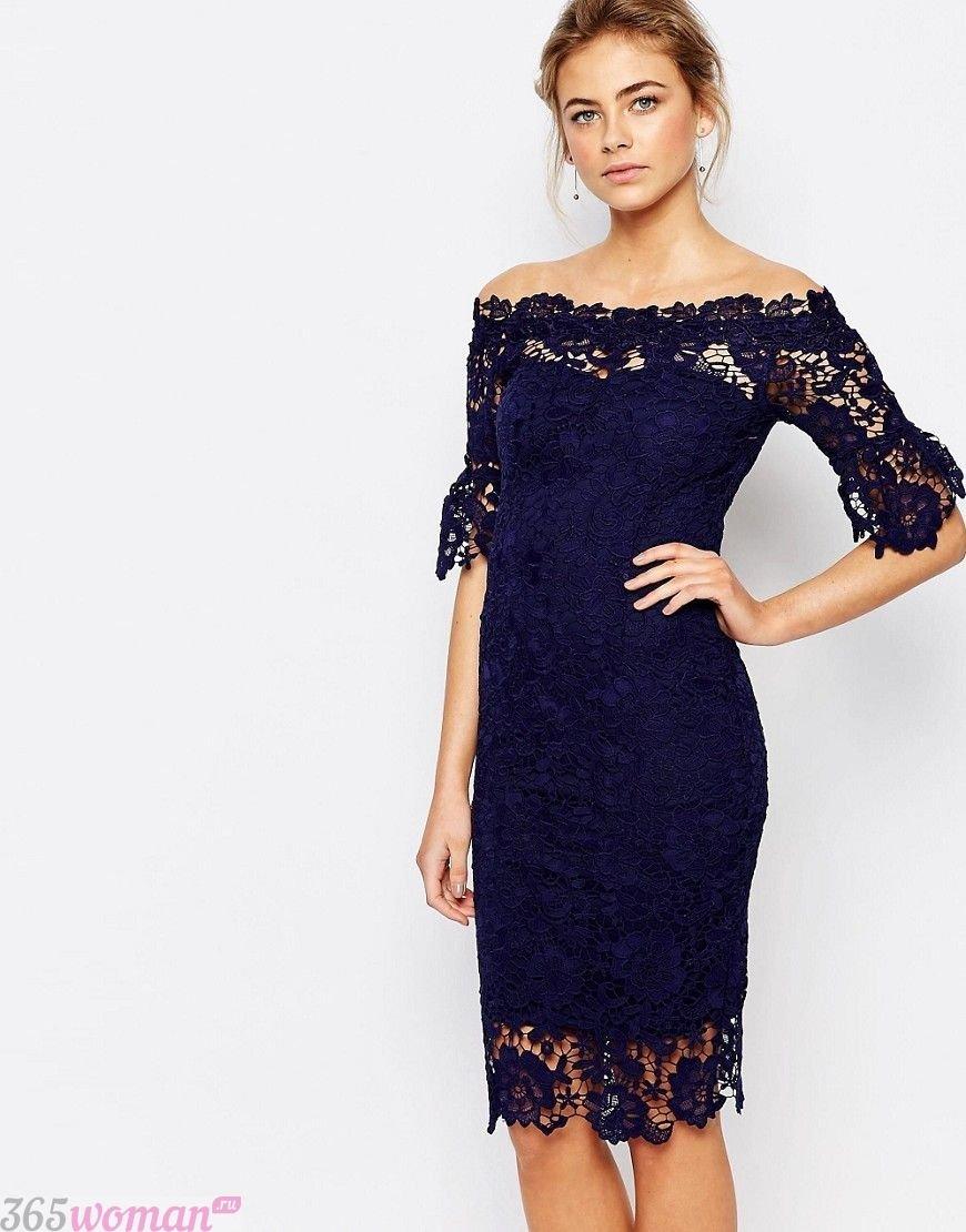 что надеть на день святого валентина 2019: тесно-синее платье из кружева