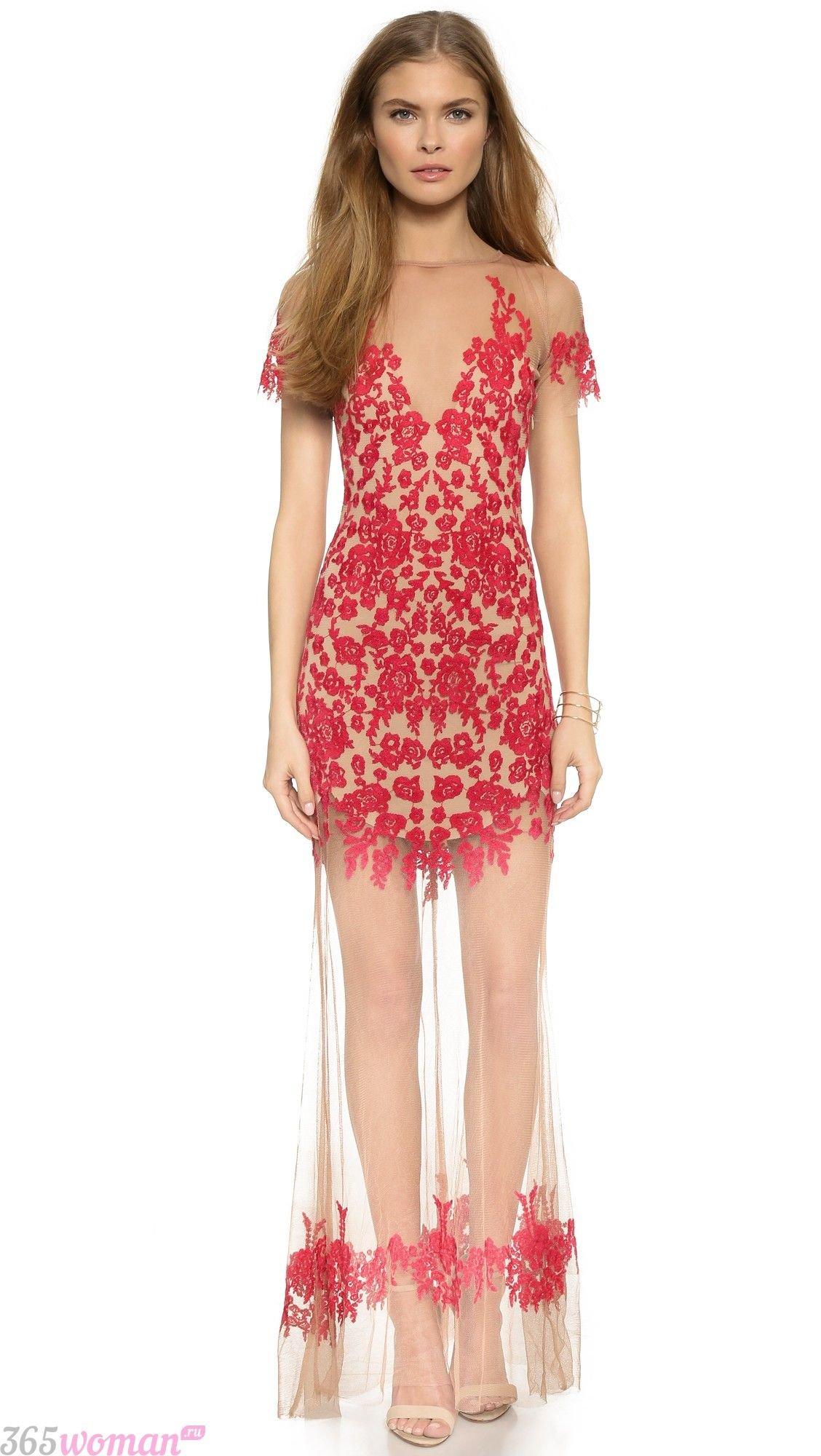 что одеть на день святого валентина 2019: бежевое платье с красным кружевом и длинной прозрачной юбкой