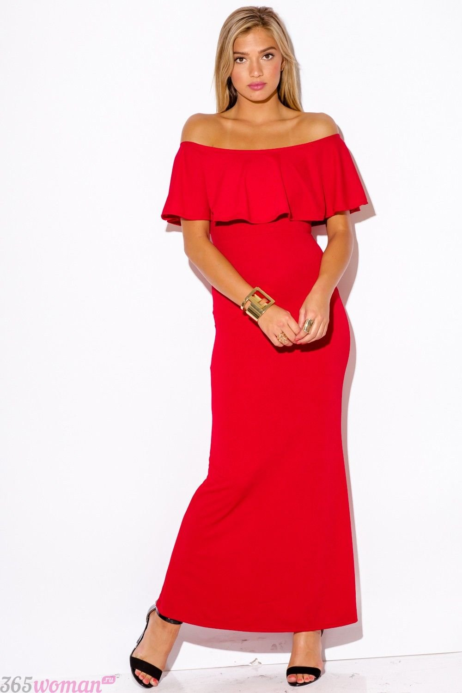 длинное красное платье с воланом