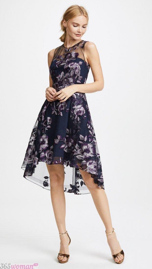 что одеть на день святого валентина 2021: платье с вышивкой удлиненное сзади