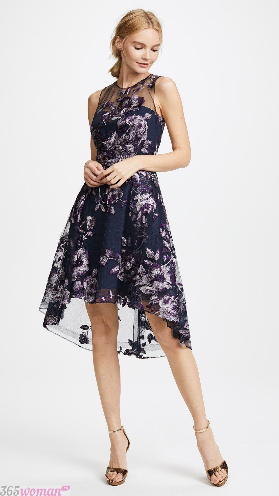 платье с вышивкой удлиненное сзади