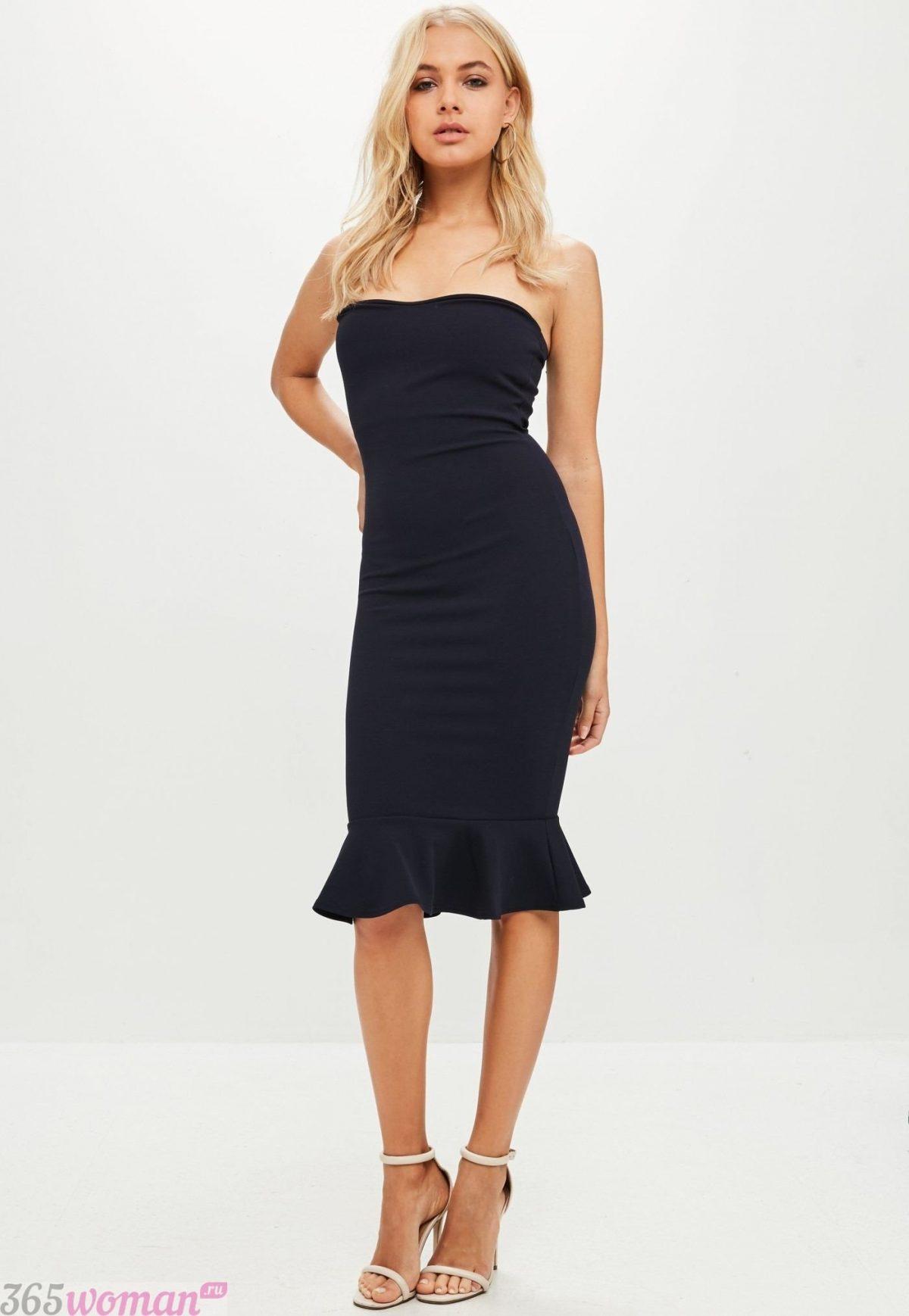 черное платье с открытым верхом