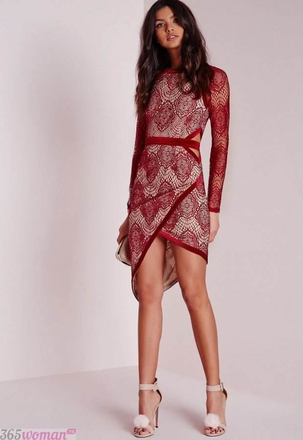 что одеть на день святого валентина 2021: красное кружевное платье на запах