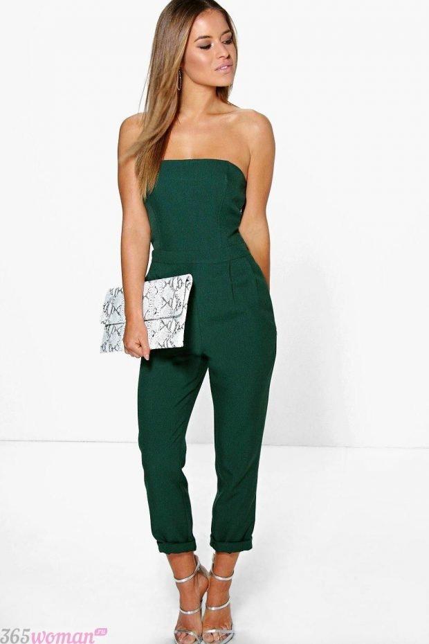 что одеть на день святого валентина 2021: зеленый комбинезон с открытым верхом