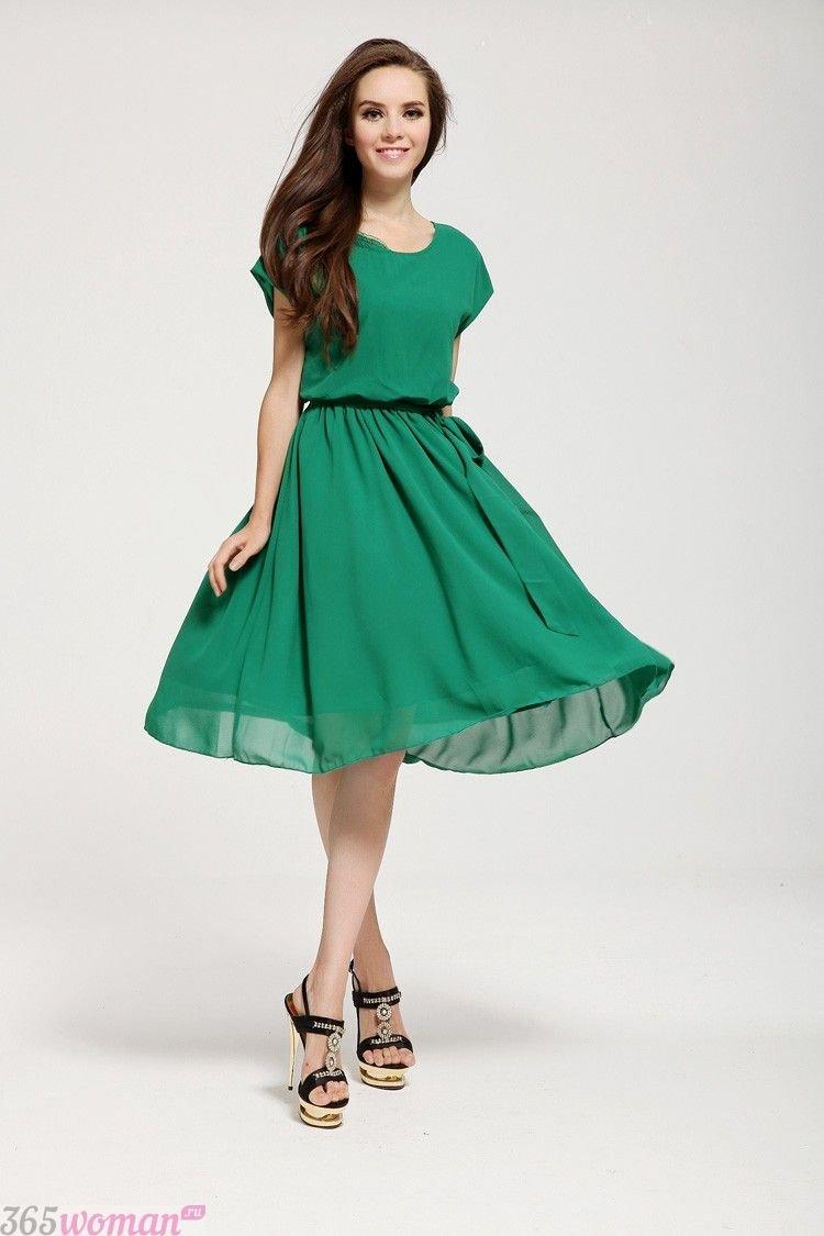 что одеть на день святого валентина 2019: зеленое шифоновое платье